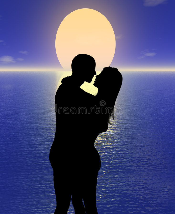 Romance no por do sol ilustração do vetor
