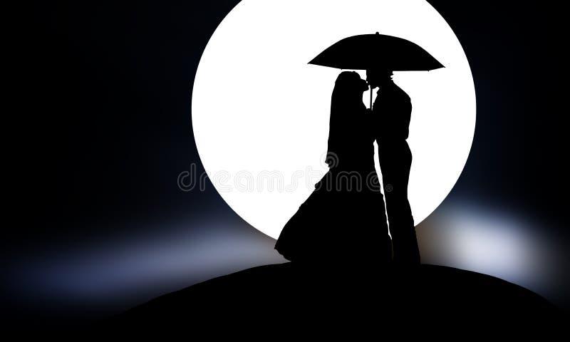 Romance noir et blanc de nuit photo stock