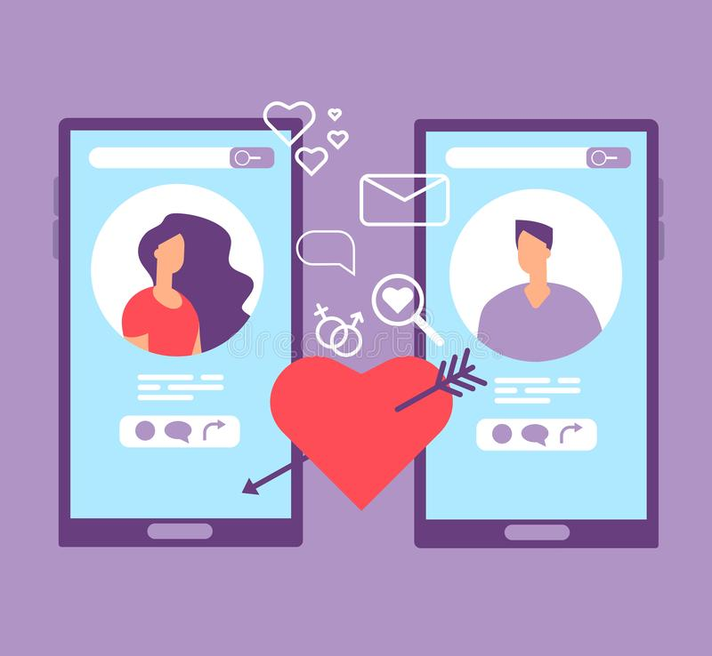 Romance online dating. Loving couple on screens of mobile phones. Dating applications vector concept vector illustration