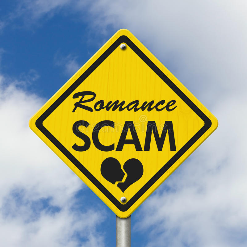 Romance Scam yellow warning sign stock photo