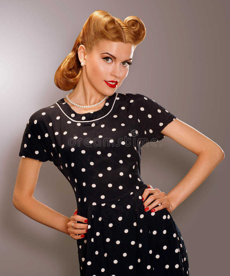 Romance Styled Woman In Blue Retro Polka Dot Dress Pin
