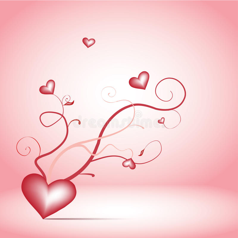 Romance twigs. Red romance twigs with hearts on the pink background stock illustration