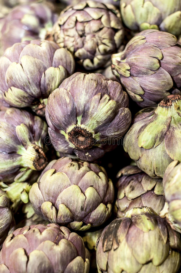 Romaneschi artichokes on display royalty free stock images