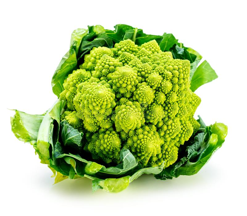 Romanesco broccoli vegetable represents a natural fractal pattern and is rich in vitimans. stock photo