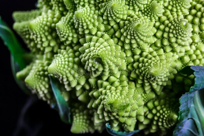 Romanesco brokułów marco kapuściany tło Natury fractal powierzchnia z spital wzorem w górę strzału, selekcyjna ostrość zdjęcia royalty free