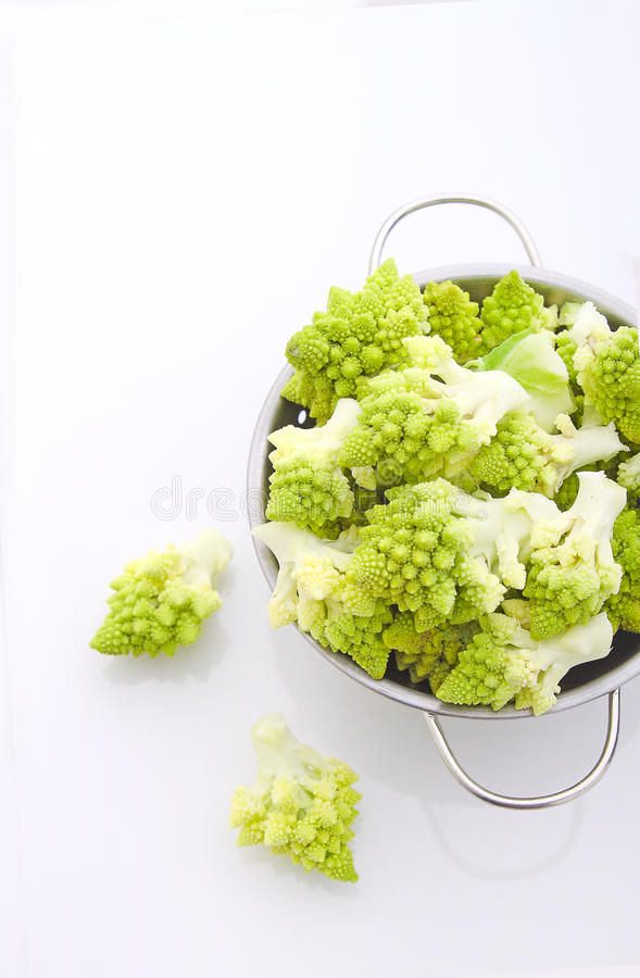 Romanesco cauliflower in a metal colander royalty free stock photos