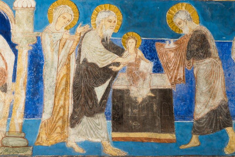 Romanesque νωπογραφία της παρουσίασης στο ναό στοκ φωτογραφίες με δικαίωμα ελεύθερης χρήσης