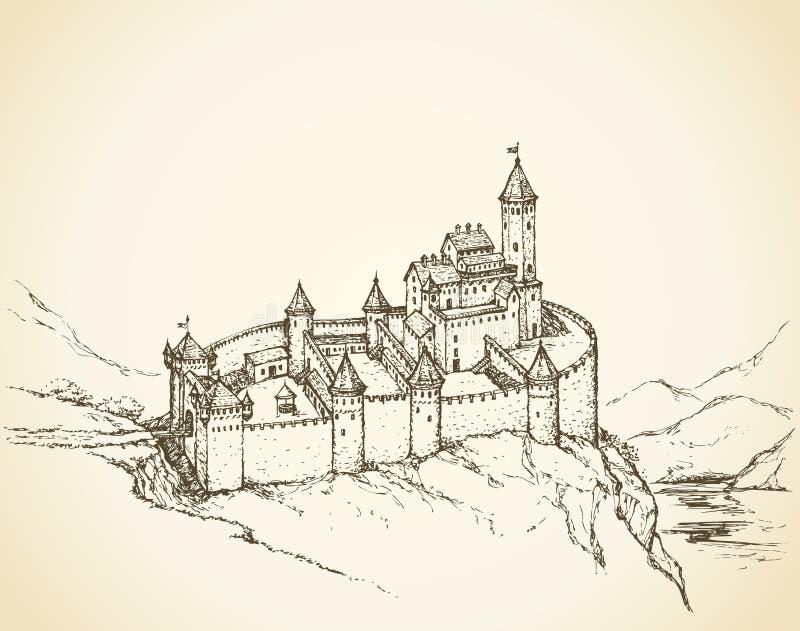 Romanesque ύφος του Castle ανασκόπηση που σύρει το floral διάνυσμα χλόης απεικόνιση αποθεμάτων