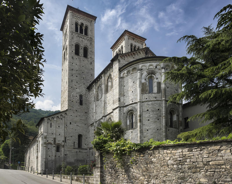 Romanesque Basilica, Como, Italy. An exterior view of the rear of the 11th c. Roman Catholic Basilica di Sant`Abbondio in the town of Como, Italy stock photos
