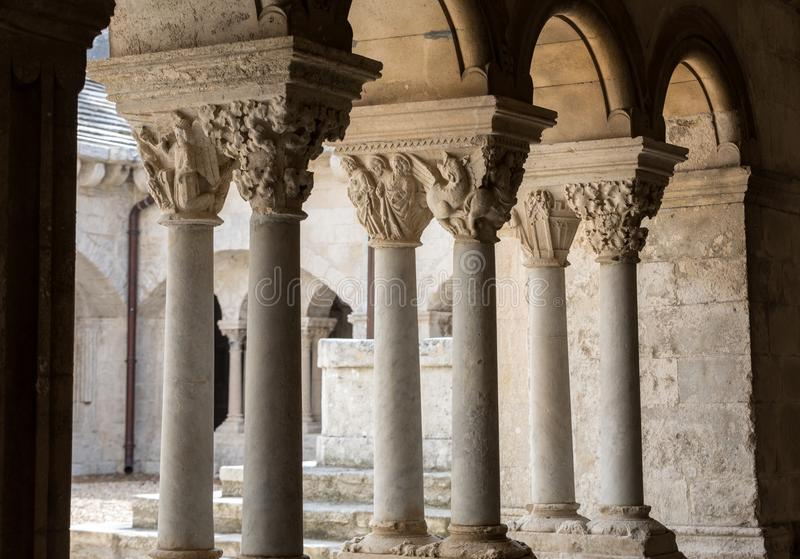 Romanesque capitals of the columns in the cloisters of the Abbey of Montmajour near Arles,. France royalty free stock images