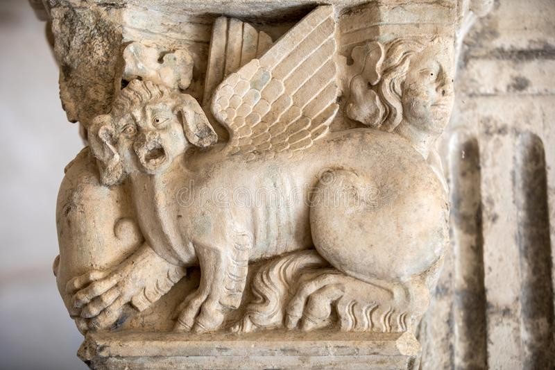 Romanesque capitals of the columns in the cloisters of the Abbey of Montmajour near Arles,. France stock images