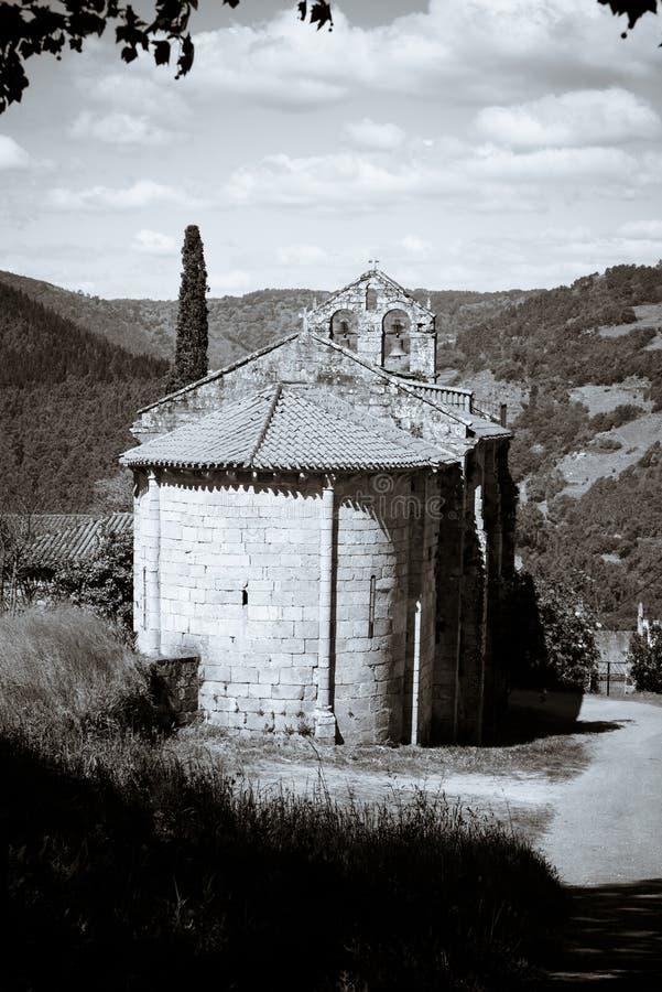Romanesque church in Lugo Spain. Romanesque church of Santa Martiño de a Cova in the Ribeira Sacra Lugo Spain stock images