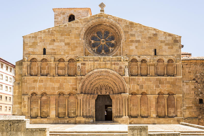 Romanesque church of Santo Domingo, Soria, Castile and Leon, Spa. Romanesque facade of the church of Santo Domingo in Soria, Spain royalty free stock image