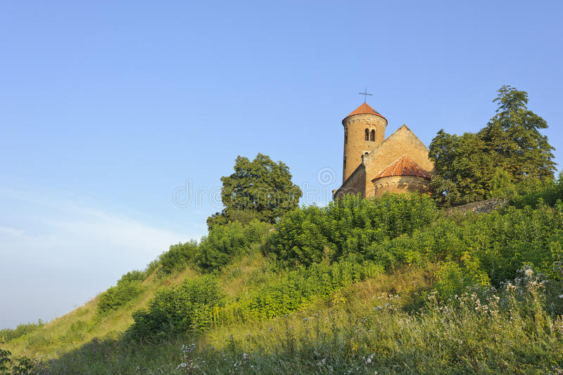 Romanesque church of St. Giles in Inowlodz stock photo
