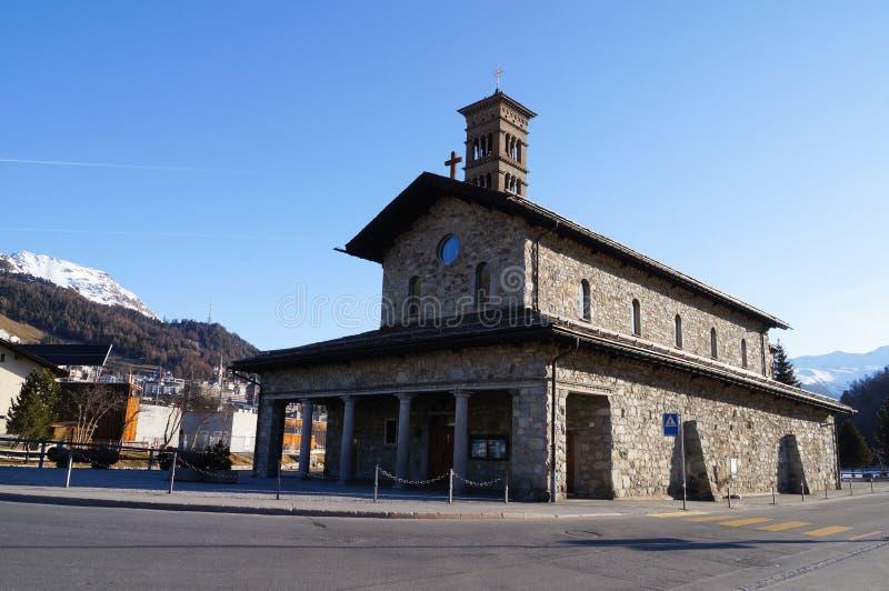 Romanesque church St.Karl, St. Moritz,Switzerland stock image