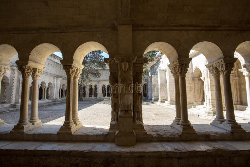 Romanesque Cloisters Church of Saint Trophime Cathedral in Arles. Provence,. France stock images