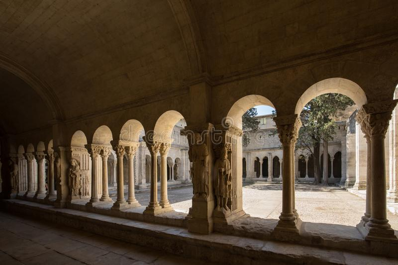 Romanesque Cloisters Church of Saint Trophime Cathedral in Arles. Provence. France stock image