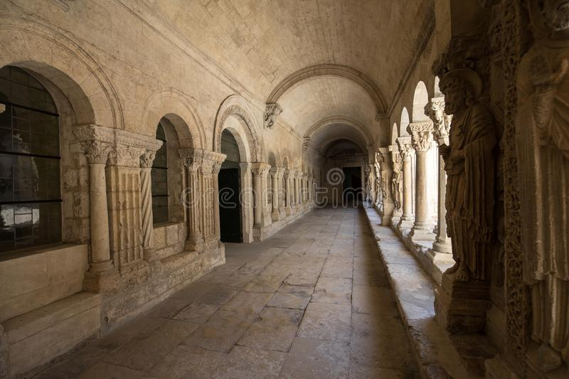 Romanesque Cloisters Church of Saint Trophime Cathedral in Arles. Provence,. France stock photos