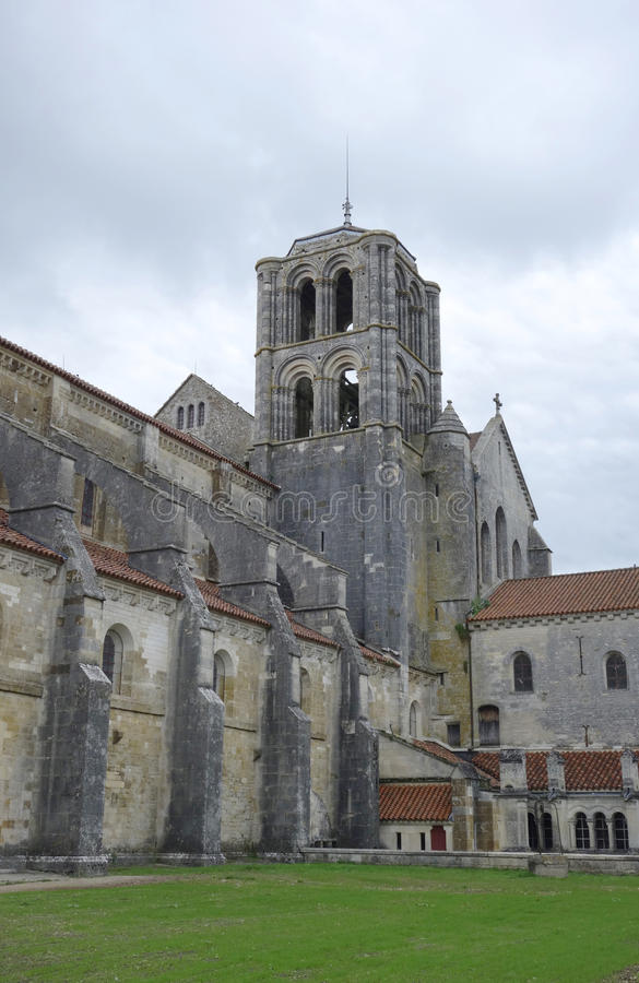 Romanesque Vezelay Abbey or Basilica of St. Mary Magdalene in Vezelay, France. VEZELAY, FRANCE - OCTOBER 6 Romanesque Vezelay Abbey or Basilica of St. Mary stock images