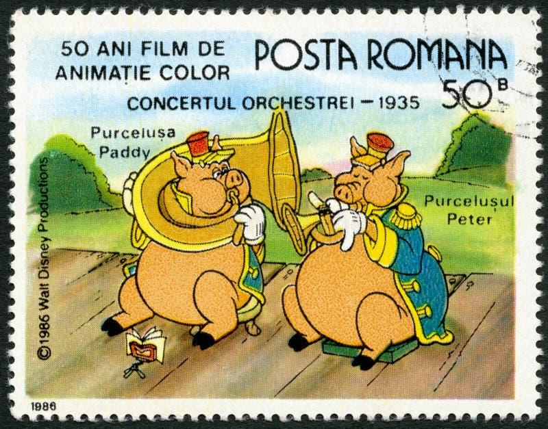 ROMANIA-1986 :展示稻和彼得,在带Concert的华特・迪士尼字符, 1935年,致力五十年颜色生气蓬勃的影片 库存例证