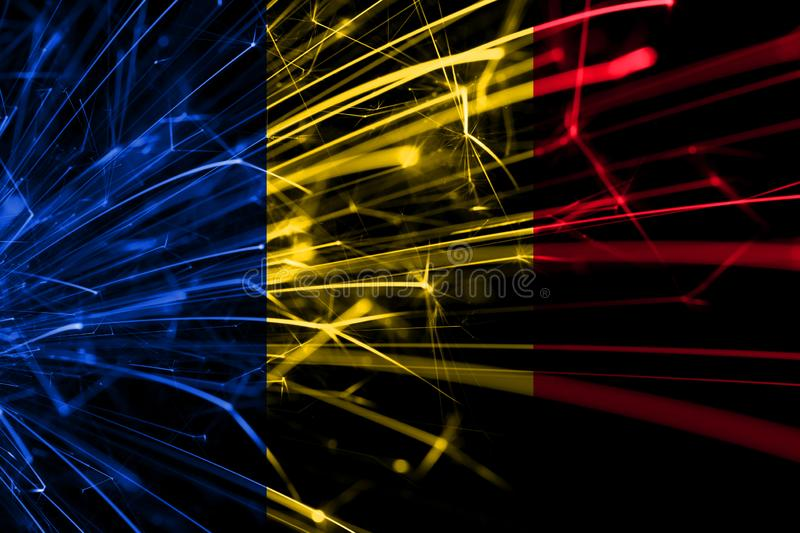 Romania abstract fireworks sparkling flag. New Year, Christmas and National day concept vector illustration