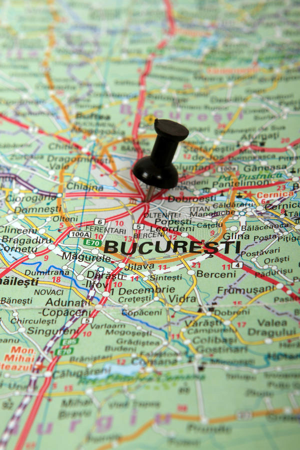 Romania : Bucharest map. Romania map with push pin on Bucharest city royalty free stock images