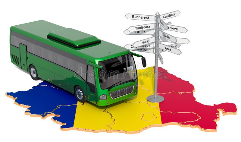 Romania Bus Tours concept. 3D rendering. Isolated on white background royalty free illustration