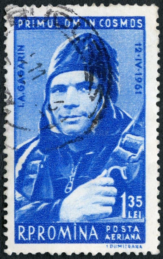 ROMANIA - 1961: shows Yuri Gagarin 1934-1968, Pilot, 1st man in space royalty free stock photo