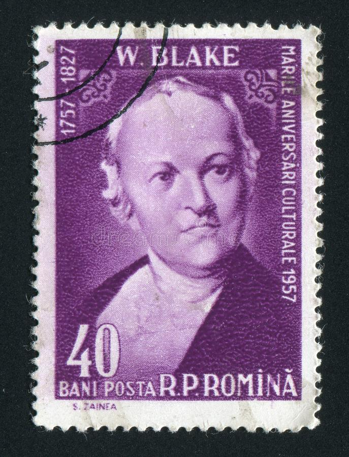 Postage stamp. ROMANIA - CIRCA 1958: William Blake was an English poet, painter, and printmaker, circa 1958 stock photography