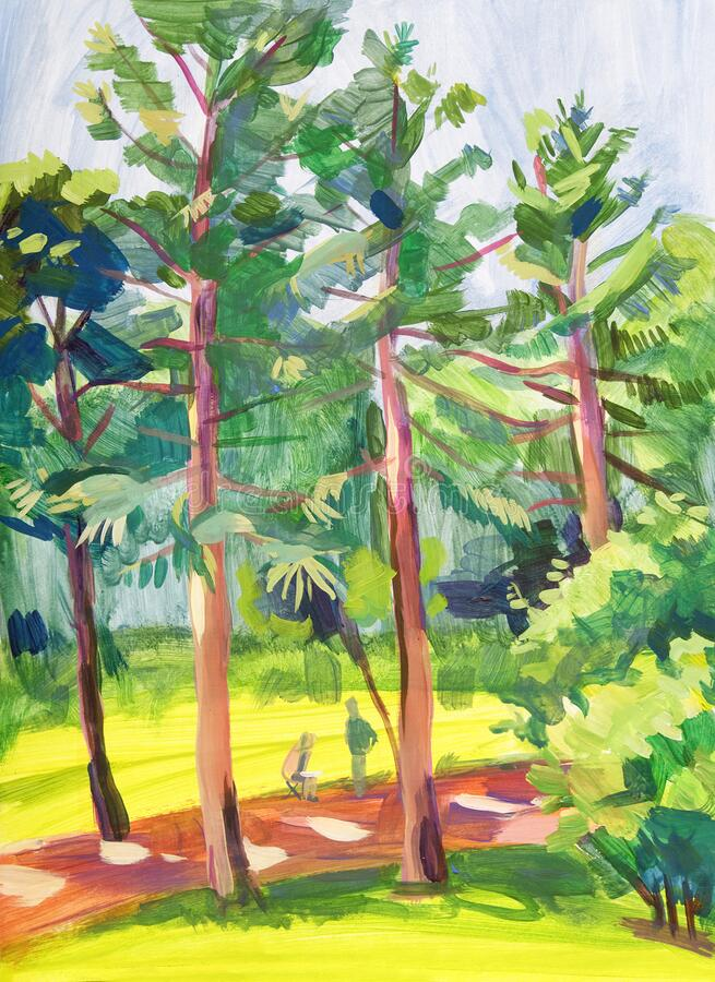 Romania. City Park. Landscape painted with gouache on paper stock photo