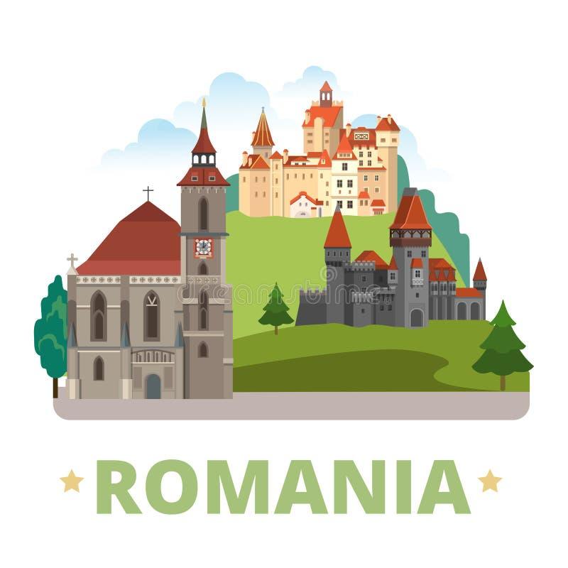 Romania country design template Flat cartoon style. Romania country magnet design template. Flat cartoon style historic sight showplace web vector illustration