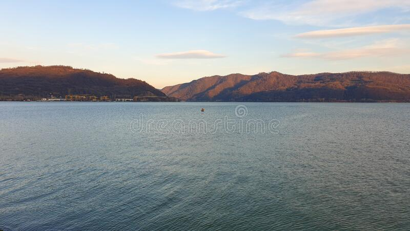 Romania, Danube River, Viewpoint from Orsova City. royalty free stock image