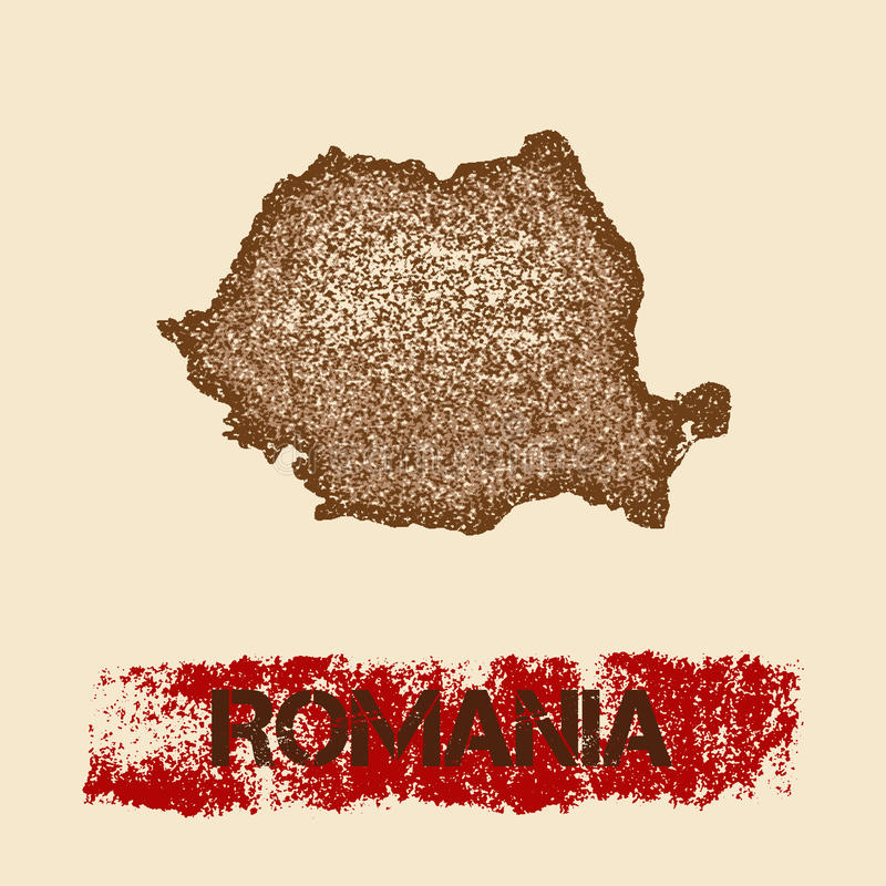 Romania distressed map. vector illustration