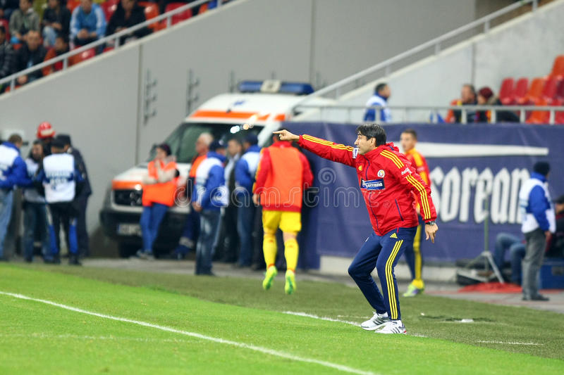 Romania-Estonia. Victor Piturca reacts, during the football match between Romania and Estonia, counting for the FIFA World Cup Group D preliminaries, Bucharest royalty free stock image