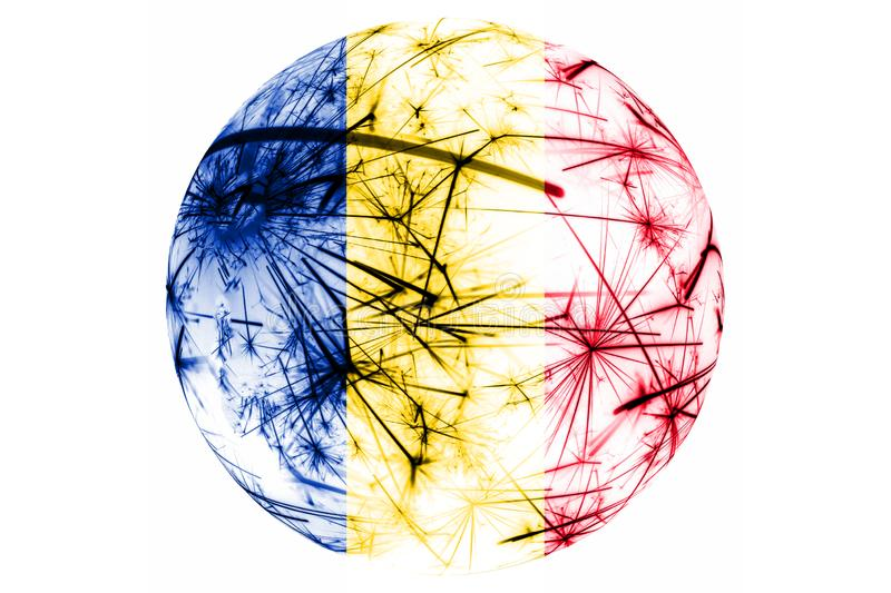 Romania fireworks sparkling flag ball. New Year, Christmas and National day ornament and decoration concept stock illustration
