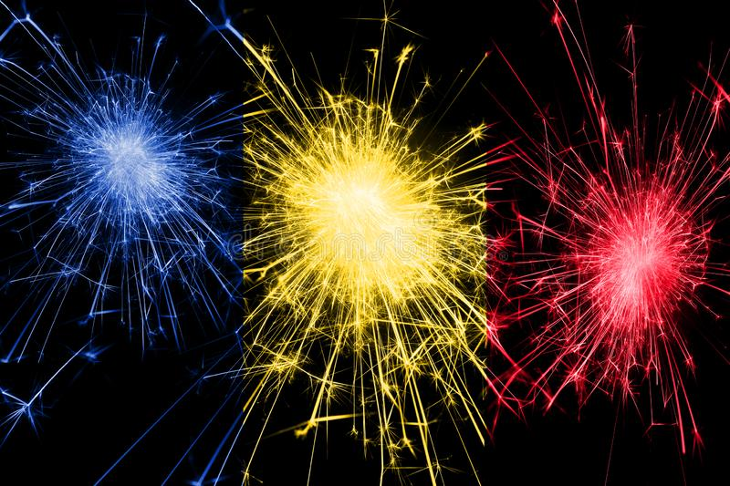 Romania fireworks sparkling flag. New Year, Christmas and National day concept.  royalty free stock image