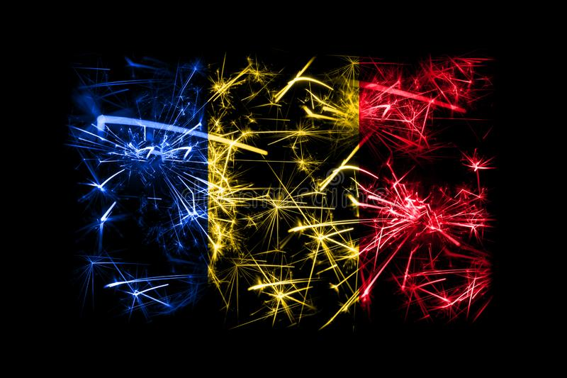 Romania fireworks sparkling flag. New Year 2019 and Christmas party concept. royalty free illustration