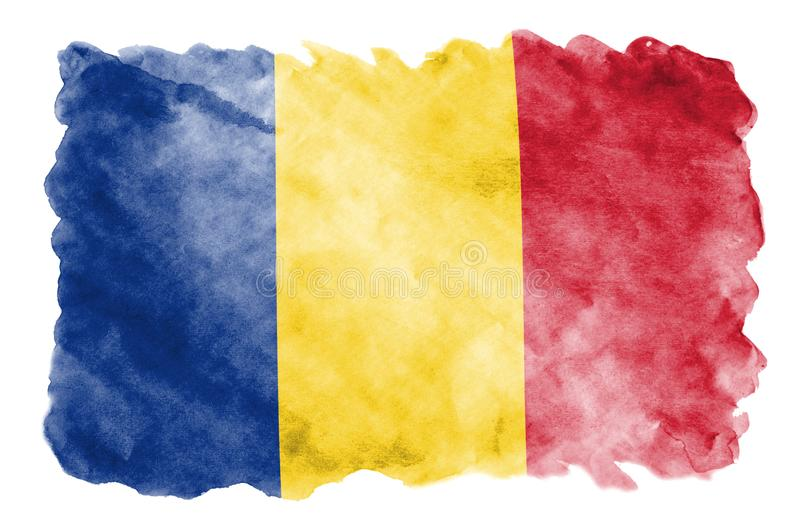 Romania flag is depicted in liquid watercolor style isolated on white background. Careless paint shading with image of national flag. Independence Day banner vector illustration