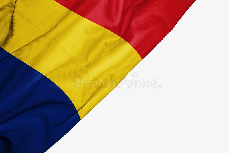 Romania flag of fabric with copyspace for your text on white background. Banner best blue capital colorful competition country ensign europe free freedom glory stock illustration