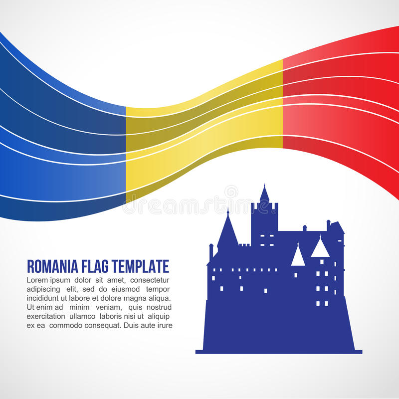 Romania flag wave and Bran Castle in Transylvania vector Template royalty free illustration
