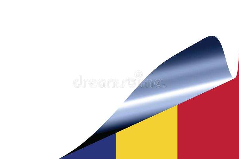 Romania flag on white. With curled page stock illustration