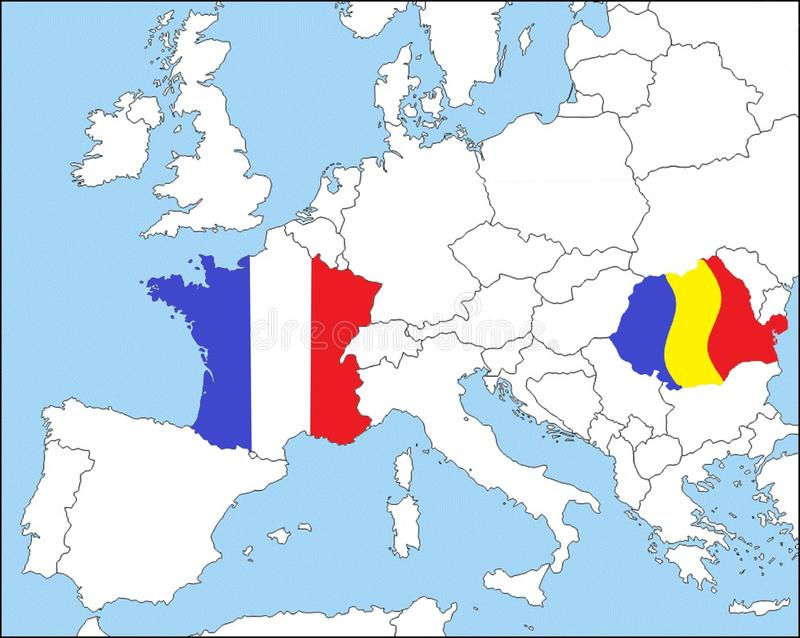 Romania and France in Europe, in the colors of the national flags royalty free illustration