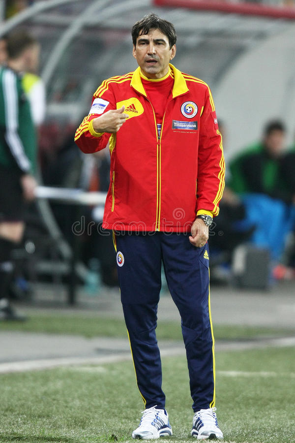 Romania-Holland. Victor Piturca, Romanian team coach, during the football match, counting for the 2014 European Championship preliminaries group D, between stock photo