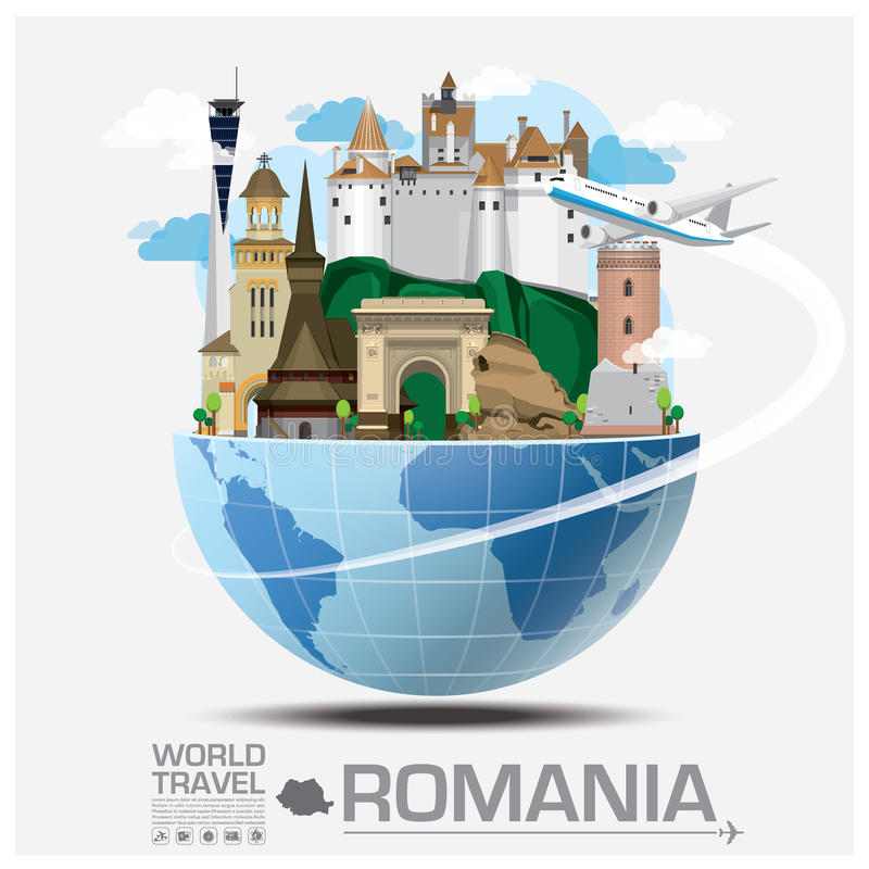 Romania Landmark Global Travel And Journey Infographic vector illustration