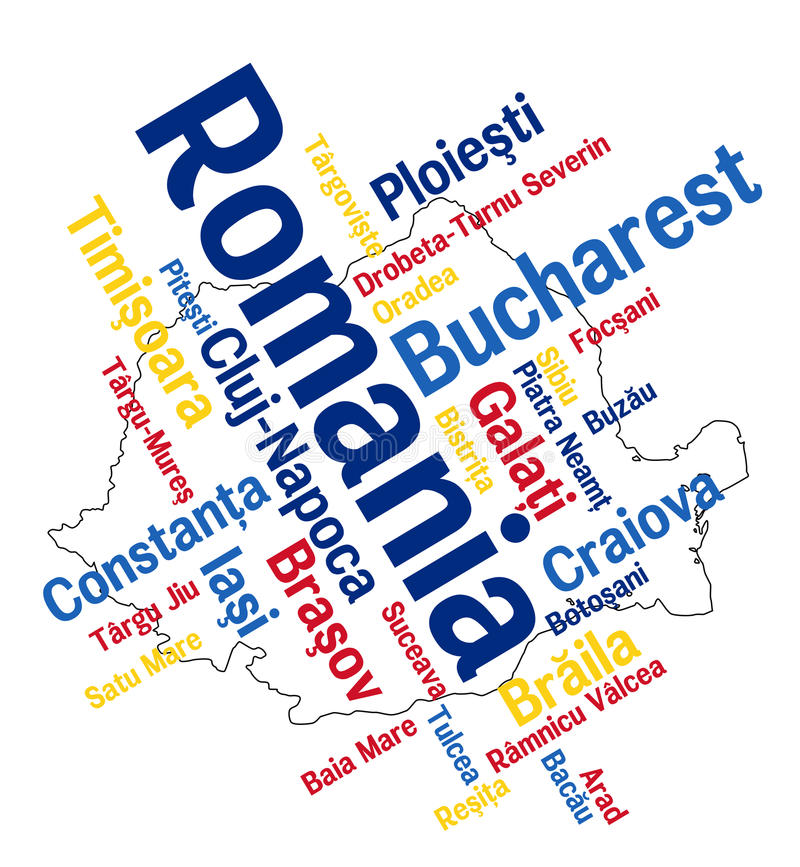 Romania map and cities. Romania map and words cloud with larger cities