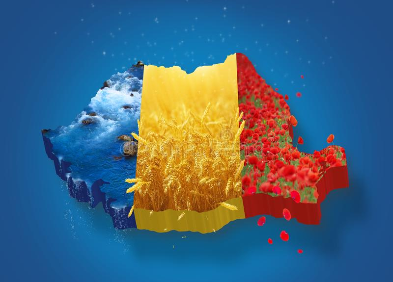 Romania map 3D. Map of Romania with rivers and wheat rivers on blue background national day December 1st celebration fast ceremony traditional romanian maps royalty free illustration