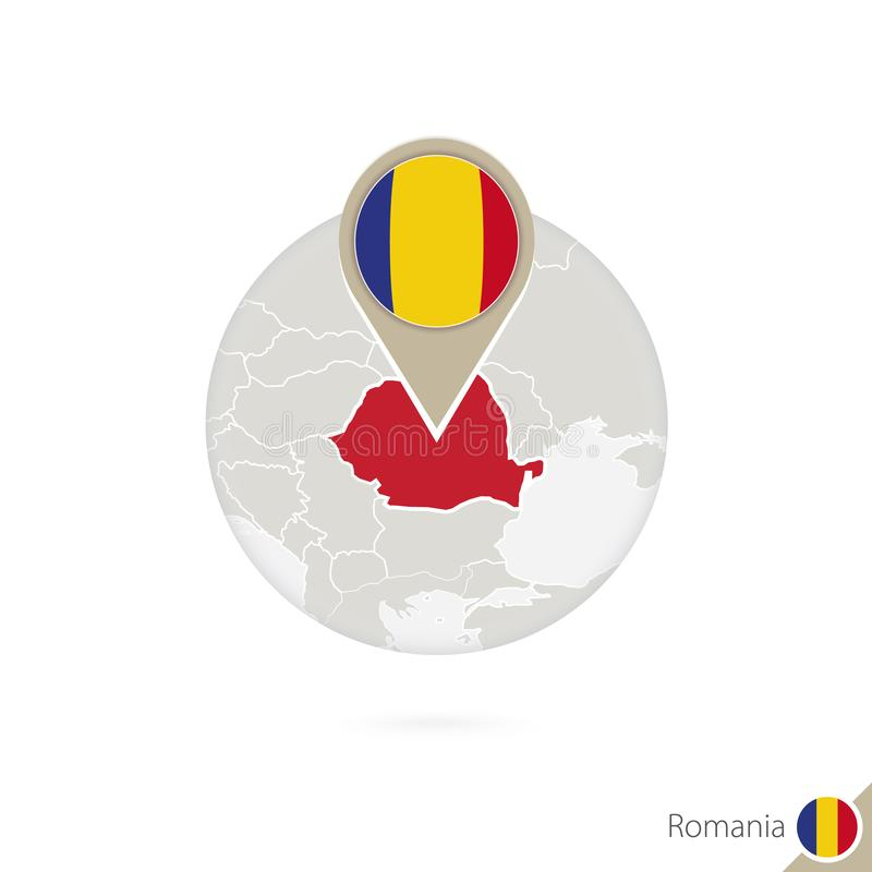 Romania map and flag in circle. Map of Romania, Romania flag pin stock illustration