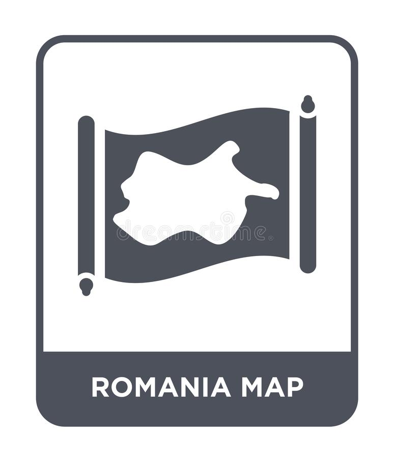 Romania map icon in trendy design style. romania map icon isolated on white background. romania map vector icon simple and modern. Flat symbol for web site vector illustration