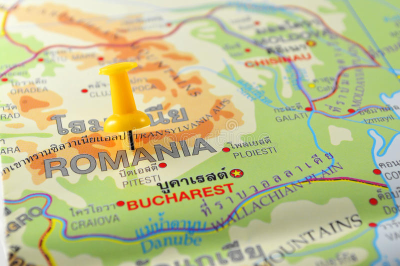 Romania map. Macro shot of romania map with push pin stock photos