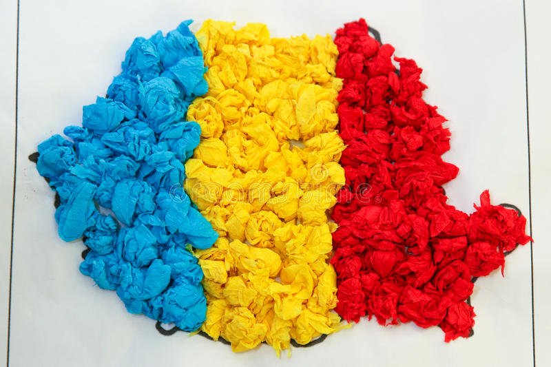 Romania map. Made of crepe paper stock photo